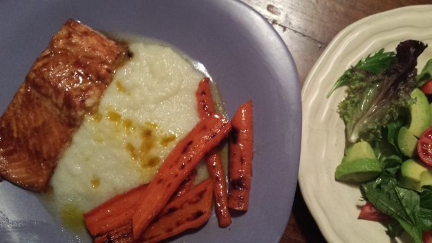 Roasted Salmon with pureed cauliflower and maple glazed carrots