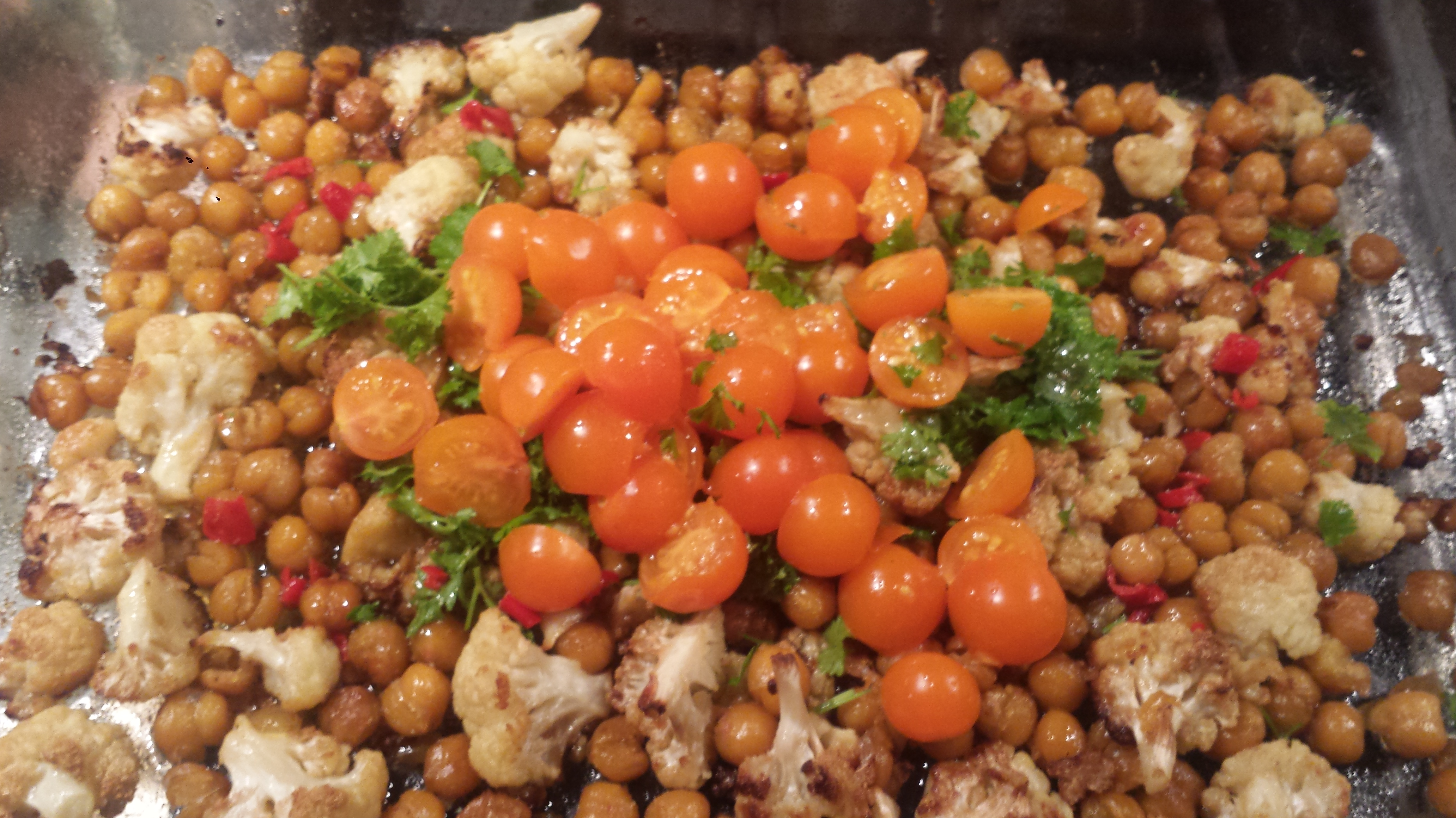 ... Wednesday – Roasted Cauliflower & Chickpeas with Tomatoes and Olives