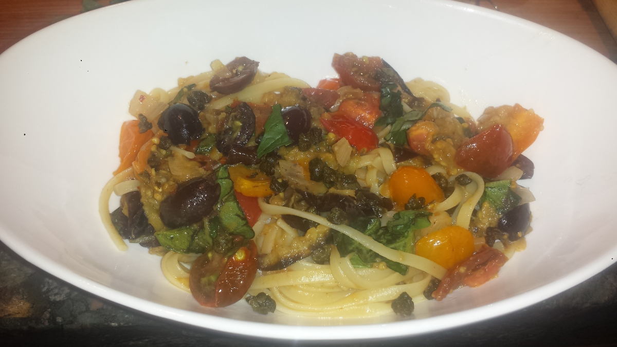 Meatless Monday – Pasta Puttanesca with Roasted Eggplant ...