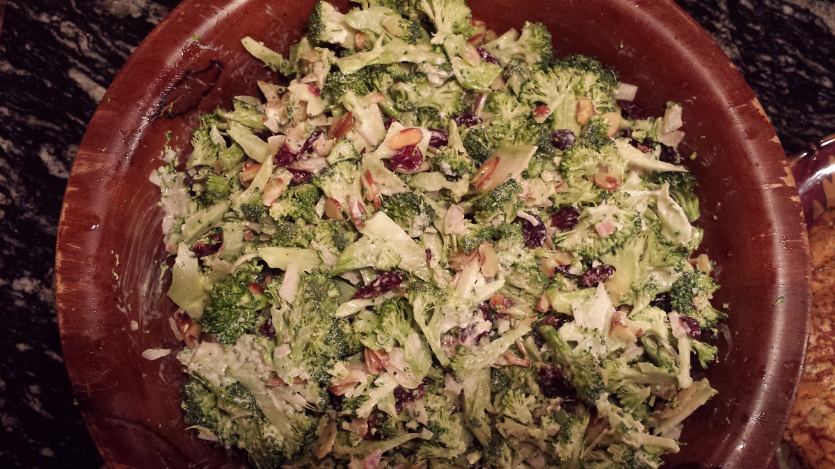 Meatless Monday -Broccoli Slaw with Cranberries and Toasted Almonds