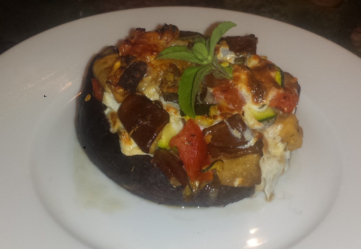 Wheatless Wednesday - Portobello Mushrooms Stuffed with Eggplant, Tomatoes and Mozzarella