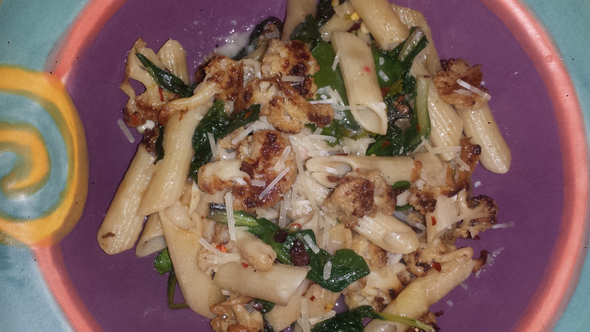 Meatless Monday - Penne with Roasted Cauliflower & Greens