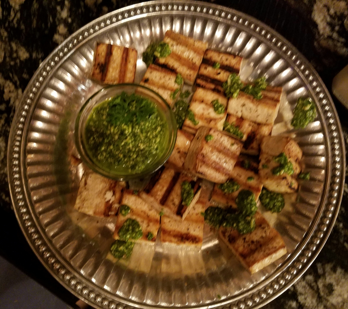 Meatless Monday - Grilled Tofu with Jalapeno Pesto